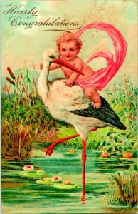 Vtg Postcard 1909 Hearty Congratulations Birth Stork Baby