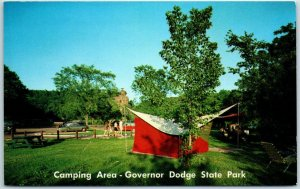 Dodgeville, Wisconsin Postcard Camping Area, Governor Dodge State Park c1950s