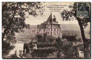 Postcard Old Dordogne Chateau de Montfort and the Dordogne