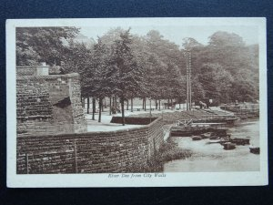 Cheshire Chester RIVER DEE Boating Platforms from City Walls - Old Postcard