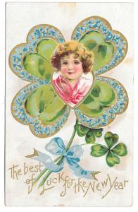 New Years Fantasy Postcard Childs Face in Shamrock