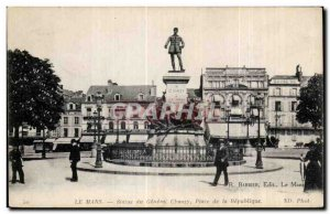 Old Postcard Le Mans Statue of General Chanzy Place de la Republique Army