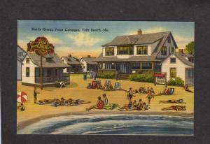 ME Rust's Ocean Front Cabins Cottages YORK BEACH MAINE Postcard Linen PC