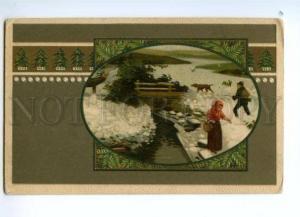 138081 ART NOUVEAU Hunt HUNTER Pointer DEER vintage Color PC