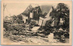 Sandusky, Ohio Postcard PERRY STREET RESIDENCE 1924 Tornado - Unused