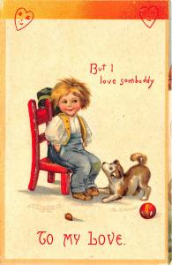Ellen Clapsaddle Signed Valentine Boy Chair Puppy Ball To My Love  Postcard