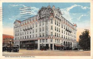 Sacramento California Hotel Street View Exterior Antique Postcard K13763