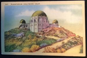 Planetarium Hollywood CA Unused Linen Postcard LB