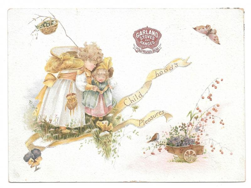 Victorian Trade Card Garland Stoves Ranges Michigan Stove Co Butterfly Children