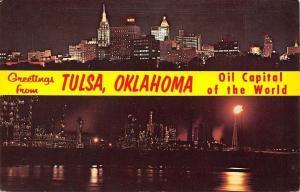 Tulsa Oklahoma~Banner Greetings~Night Lights~Sky Line~Oil Refineries~1950s PC