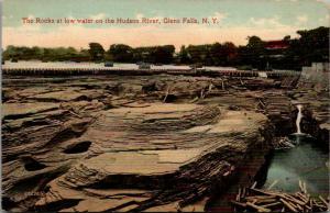 Glens Falls New York~Shale Rocks in Hudson River @ Low Water~Wood Crates~c1910