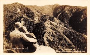 Who Says Huggins Hell? Great Smoky Mountains NC~Couple Hug on Rock~1950 RPPC