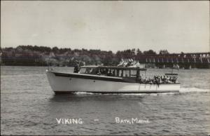 Bath ME Pleasure Boat Viking Real Photo Postcard