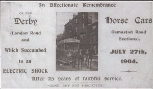 Derby Horse Cars 1904 Remembrance Electric Shock Disaster Borth Postcard