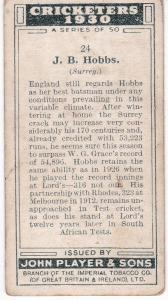 Cigarette Cards Player's Cricketers 1930 No 24 - J B Hobbs (Surrey
