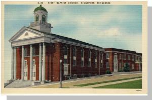 Kingsport, Tennessee/TN Postcard,1st Baptist Church,Nr Mint!