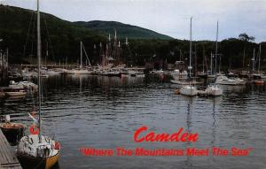 USA Camden Maine Harbor and Mountains