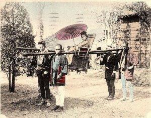 1905 Hand colored Yokohama, Japan Scene Parasol Litter Postcard P126