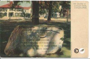 Boulder on Lexington Green Lexington Massachusetts Undivided Back Postcard
