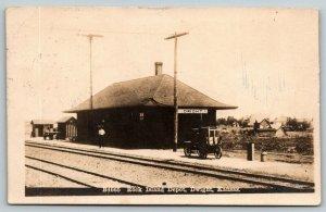 Dwight Kansas~Rock Island Railroad Depot~Train Station Manager~1915 RPPC