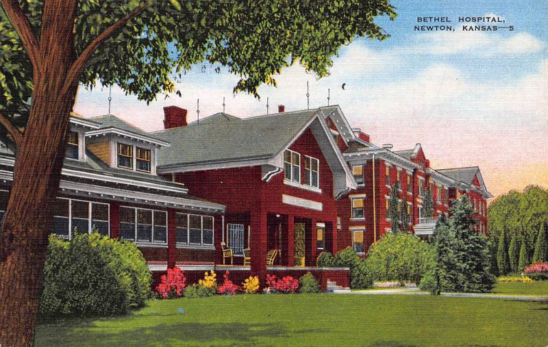 Bethel Hospital, Newton, Kansas, Early Linen Postcard, unused
