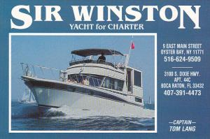 Sir Winston Yacht For Charter Oyster Bay New York and Boca Raton Florida