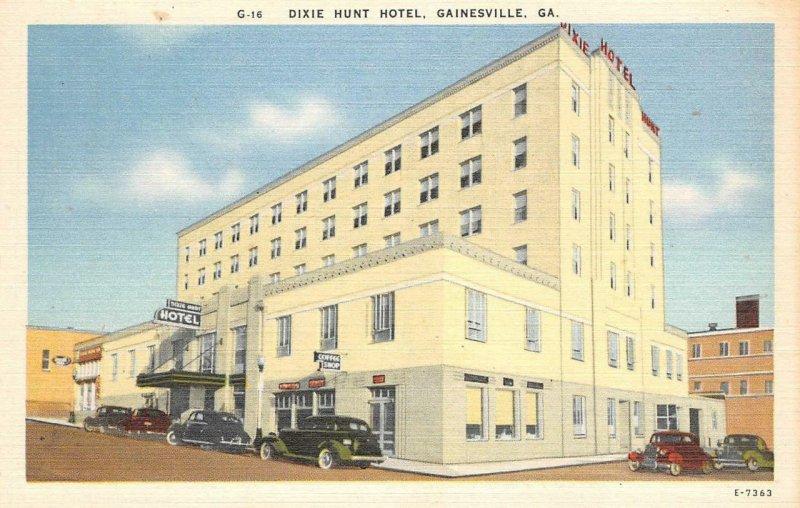 DIXIE-HUNT HOTEL Gainesville, Georgia ca 1940s Vintage Postcard