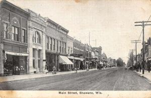 Shawano Wisconsin Main Street Scene Bank Exterior Antique Postcard K29005
