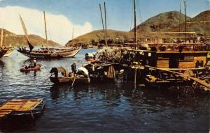Aberdeen Hong Kong China Fishing Boat Harbor Vintage Postcard K99804