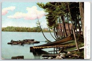 Adirondack Mountains New York~Private Camp on Lake~Log Dock~Canoe~1906