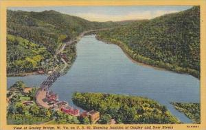 West Virginia View Of Gauley Bridge Showing Junction Of Gauley And New Rivers