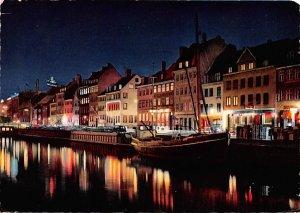 Nyhavn at night Copenhagen Denmark Postal Used Unknown