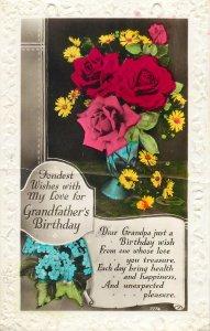 Postcard Greetings birthday flowers multi color vase