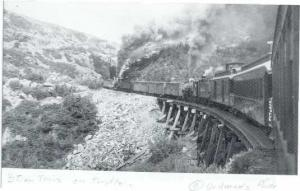Steam Train on Trestle. White Pass & Yukon Narrow Gauge Railroad