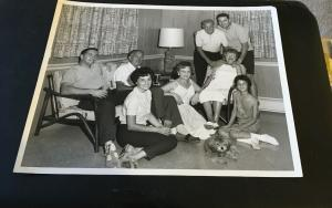 1950s Family Photo in the Family Room Doing Family things 8x10