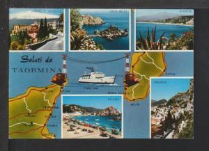 Map,Sicily-Italy Boot Toe Postcard