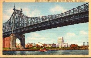 New York City Queensboro Bridge and New York Hospital Curteich