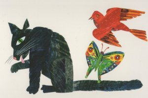 Cat Butterfly Bird Draw Me A Star Eric Carle Book Postcard