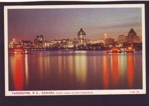 P1567 vintage unused postcard night lights on waterfront vancouver bc  canada
