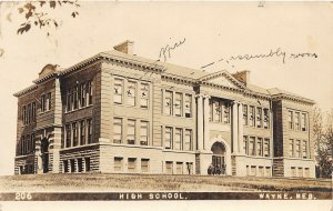 G32/ Wayne Nebraska RPPC Postcard 1910 High School Building