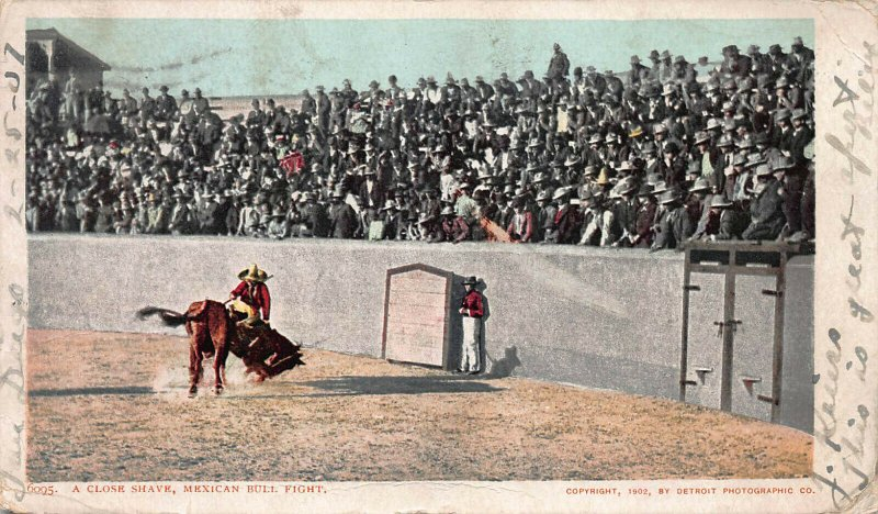A Close Shave, Mexican Bull Fight, 1902 Postcard, Used, Detroit Photographic Co
