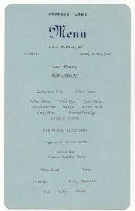 FURNESS LINES, R. M. S. Nova Scotia, 1948; Breakfast Menu Card