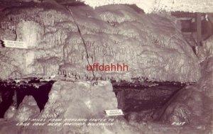 EAGLE CAVE NEAR MUSCODA, WI RPPC B-659 Paul Bunyans Toad Stool & Mount Vesuvius
