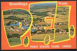 Prince Edward Island HUNTER RIVER Large Letter - View - Greetings from - Chrome