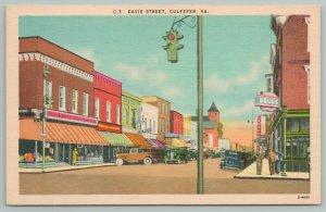 Culpeper Virginia~Davis Street & Street Light~Vintage Postcard