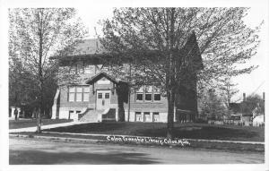 Colon Michigan~Colon Township Library~Houses in Background~1950s RPPC Postcard