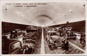 Interior of Mersey Tunnel Liverpool & Birkenhead UK Unused RPPC Postcard E18