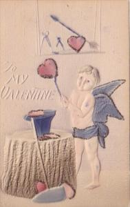 Valentine's Day Cupid With Anvil Making Hearts