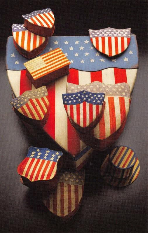 Postcard USA, Flag and Shield Candy Boxes made from Paper and Printed Cloth