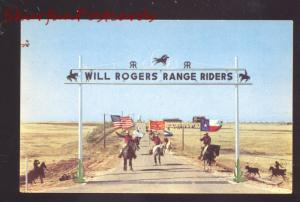 AMARILLO TEXAS ROUTE 66 WILL ROGERS RANGE RIDERS CLUB VINTAGE POSTCARD